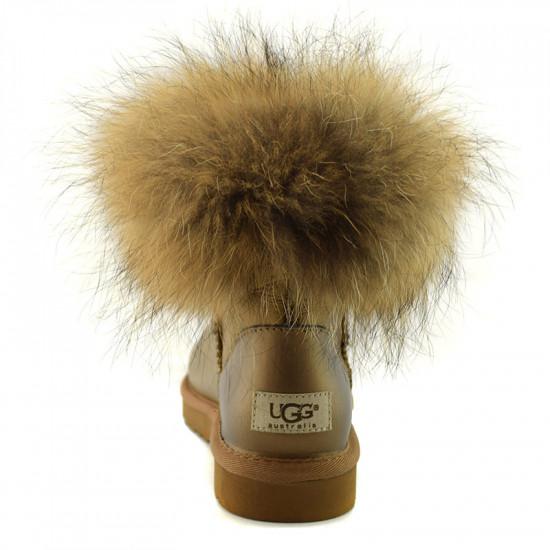 ❎ Женские угги UGG Fox Fur Gold Metallic